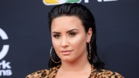 Demi Lovato Closeup In Leopard Print Dress With Hoop Earrings and Slicked Back Hair Smiling
