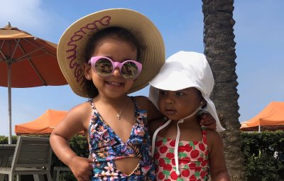 Dream Kardashian True Thompson Pool Day Swimsuits Together