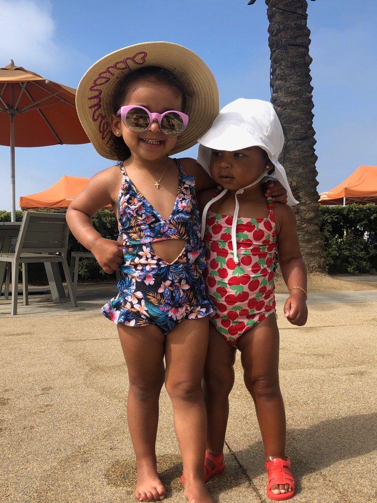 Dream Kardashian True Thompson Pool Day Swimsuits Together