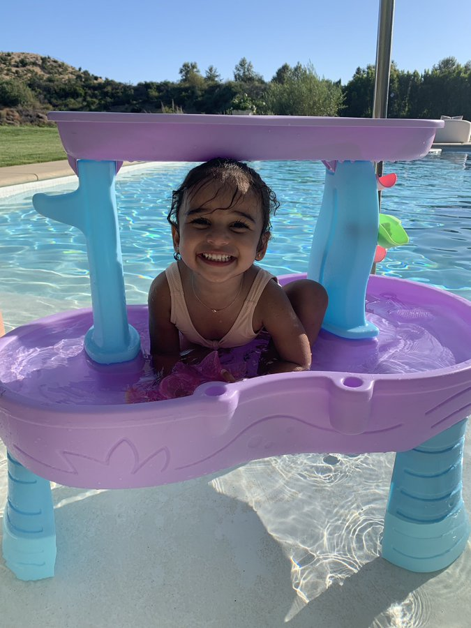 Dream Kardashian Smiles in Pool