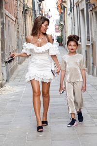 Farrah Abraham and her daughter, Sophia, posing for a photoshoot in Venice wearing dresses and makeup