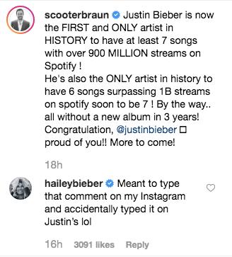 Hailey Baldwin Scooter Braun Instagram Comments