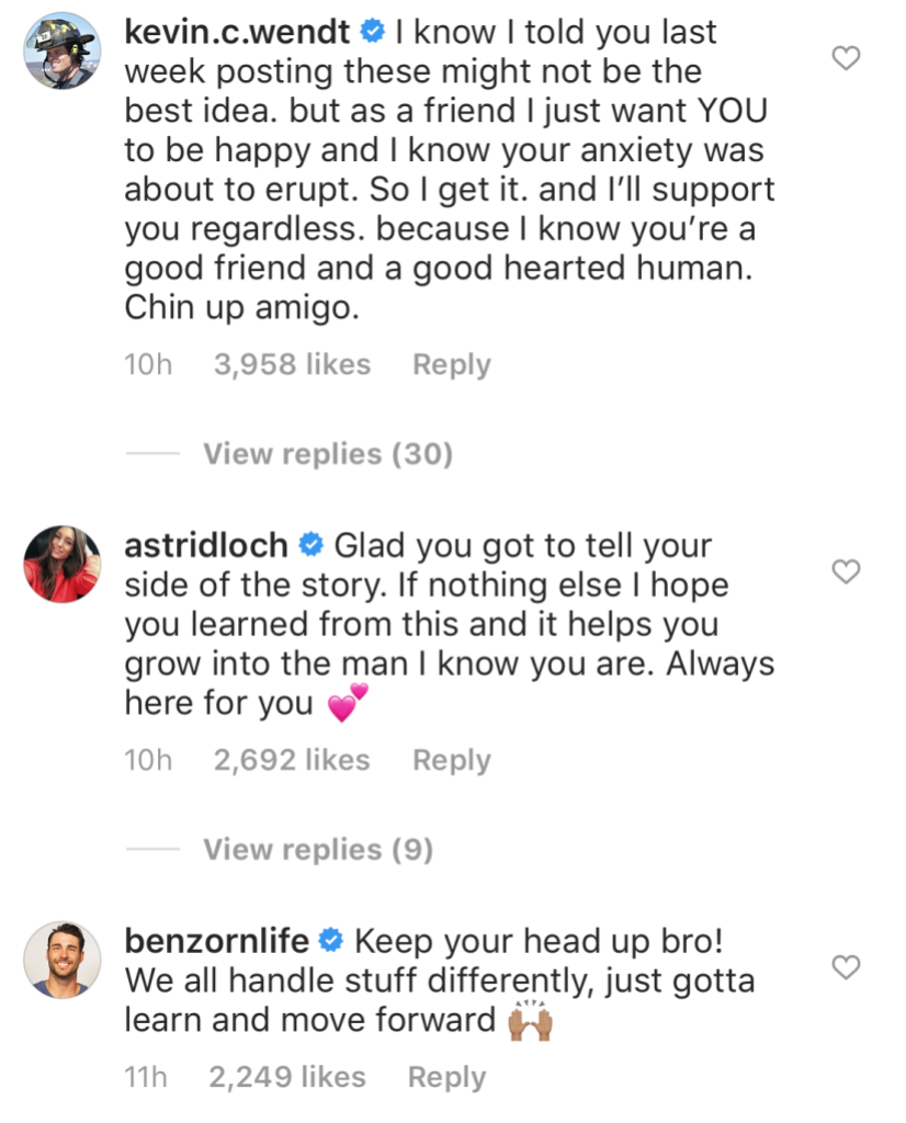 Kevin Wendt, Astrid Loch, and Ben Zorn comment on Blake Horstmann leaking Caelynn Miller Keyes text messages after paradise fight