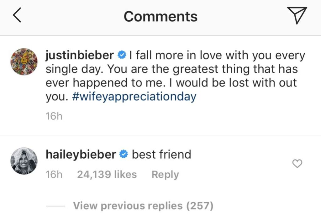 Justin Bieber and Hailey Baldwin's IG Comments