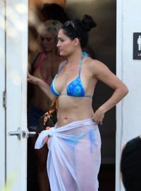 Nikki Bella Abs in Blue Bikini and White Cover UP