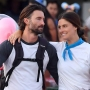 Brandon Jenner Wearing a Baseball T-Shirt with Cayley Stoker at Disneyland
