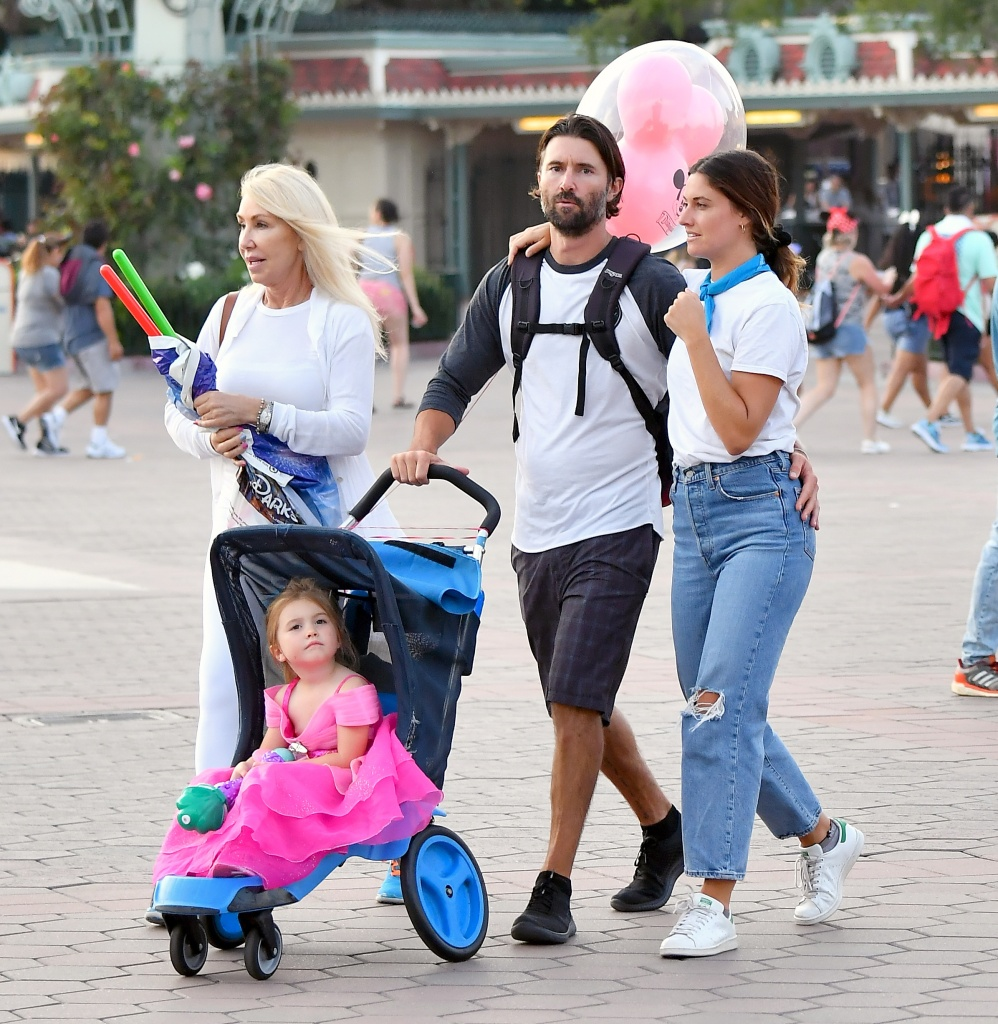 Cayley Stoker With Brandon Jenner in a T-Shirt Around Disneyland
