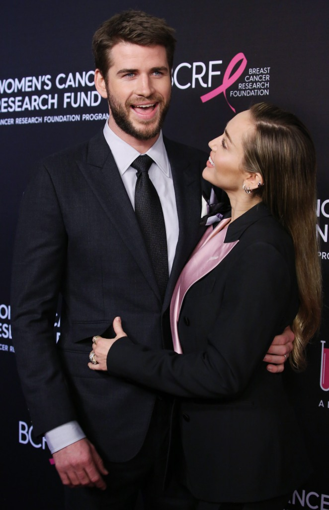 Liam Hemsworth Wearing a Black Tuxedo with Miley Cyrus in a Black Tuxedo