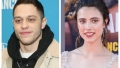 A split image of Pete Davidson and Margaret Qualley