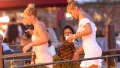 Sofia Richie and Jasmie Sanders getting off a boat in Venice
