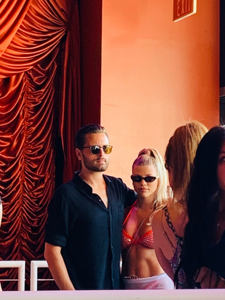 Scott Disick and Sofia Richie posing for a photo at her birthday party in Las Vegas.