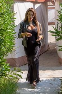 Farrah Abraham in a Black Dress on the Beach in Venice
