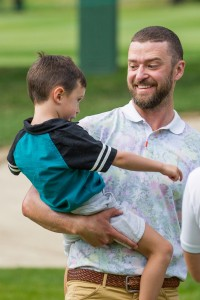 Justin Timberlake and Silas Giggle on Golf Course