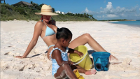 Khloe Kardashian and Daughter True on the Beach