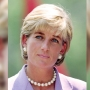 princess diana wears a lavendar blazer and pearls in vintage photo from 1997
