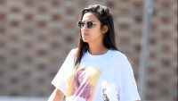 Pregnant Shay Mitchell in a Vintage Britney Spears Shirt