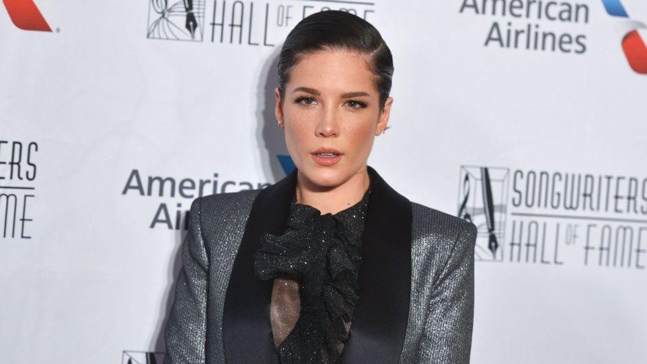 Halsey Grey Sparkly Tux With Slicked Back Hair Quit Nicotene