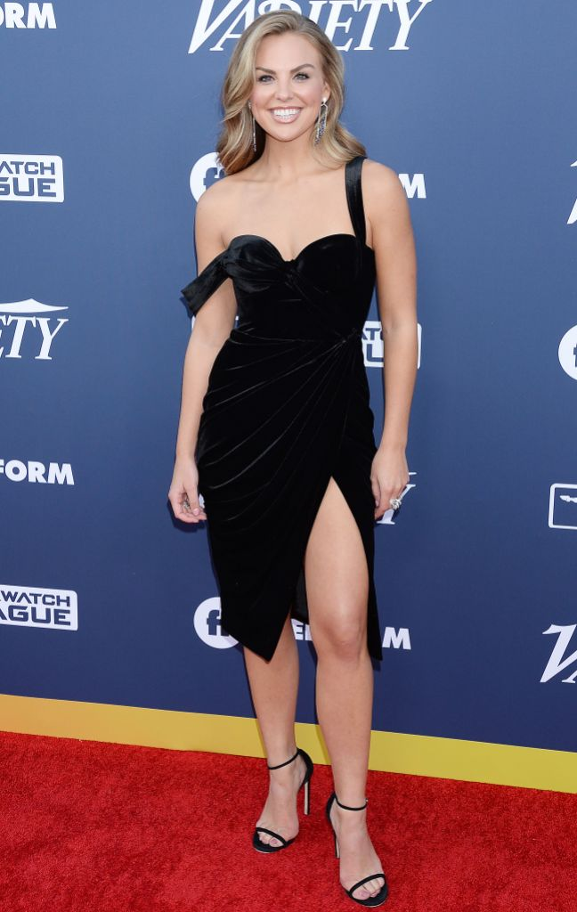 Hannah Brown Black Velvet Dress at Variety Event