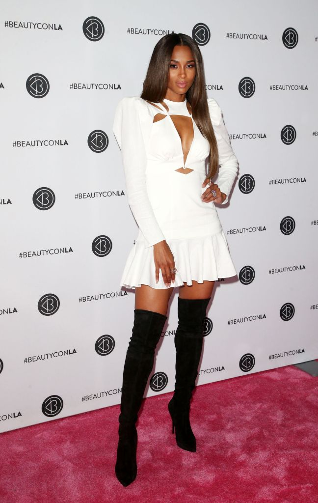 Ciara White Dress at Beautycon Day 2 and Thigh High Black Boots