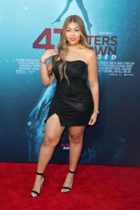 Jordyn Woods Black Mini Dress Red Lipstick
