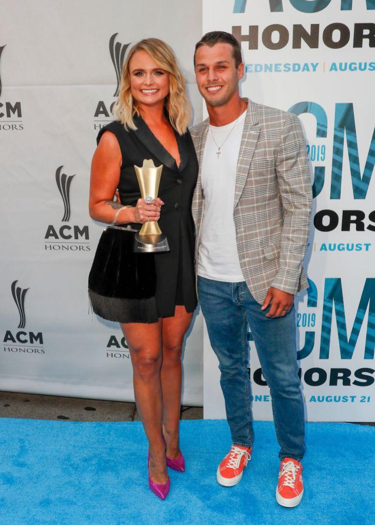 Miranda Lambert and Brendan McLoughlin Hugging on the Red Carpet ACM Honors Awards