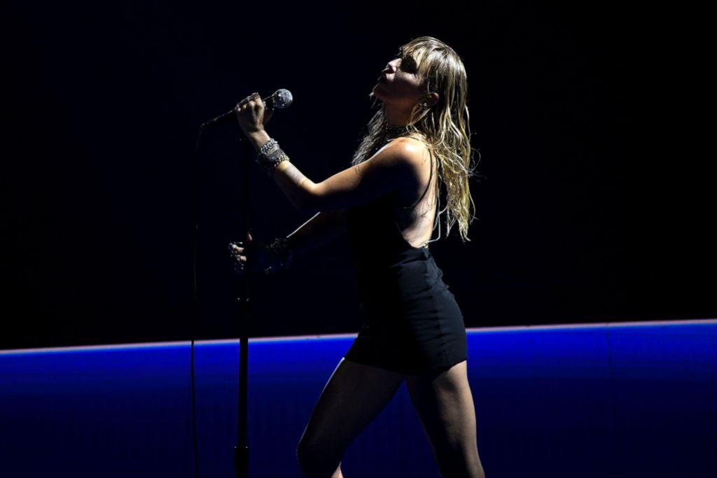 Miley Cyrus Black Mini Dress on Stage 2019 MTV VMAs