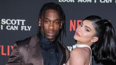 Traivs Scott and Kylie Jenner Pose Together on Netflix Red Carpet Look Mom I Can Fly