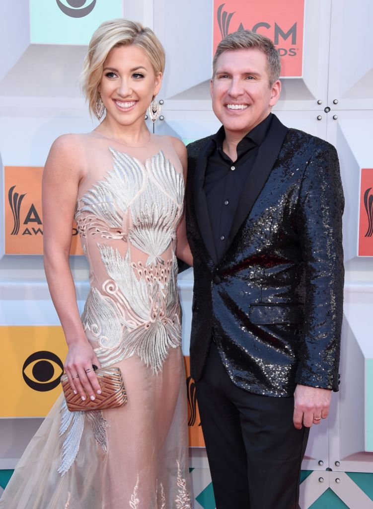 Savannah Chrisley and Todd Chrisley Smiling on the Red Carpet in Sparkly Clothes