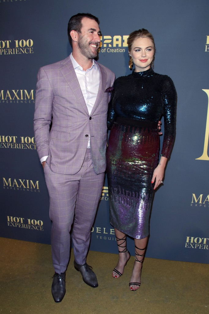 Justin Verlander Purple Suit and Kate Upton Sequined Colorful Dress Maxim Red Carpet