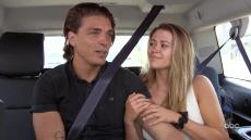 Dean Unglert Wearing a Dark Blue Shirt in the Van With Caelynn Miller-Keyes