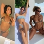A split image of Demi Lovato, Kendall Jenner and Sofia Richie wearing bikinis