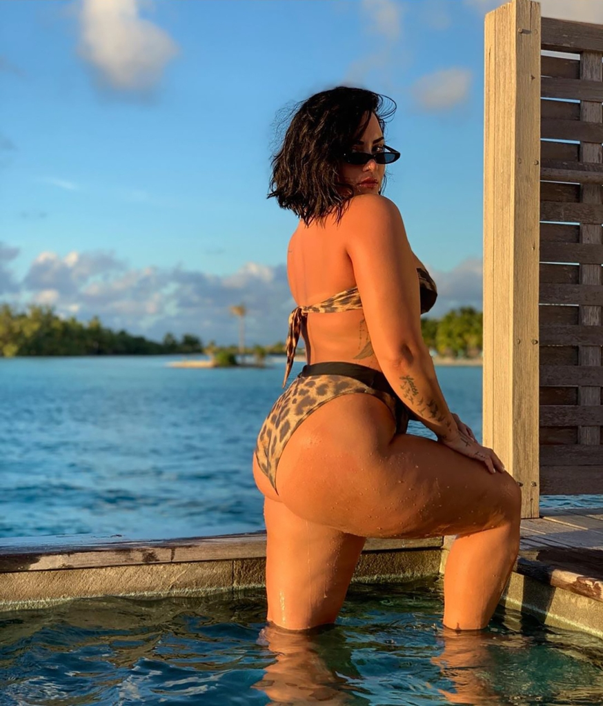 Demi Lovato Poses In a Leopard Bikini Standing in Pool to Reveal Her Unedited Backside
