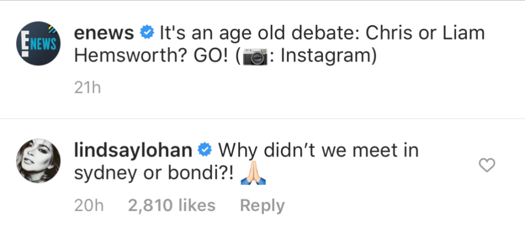 Lindsay Lohan Comments on the Hemsworth Brothers