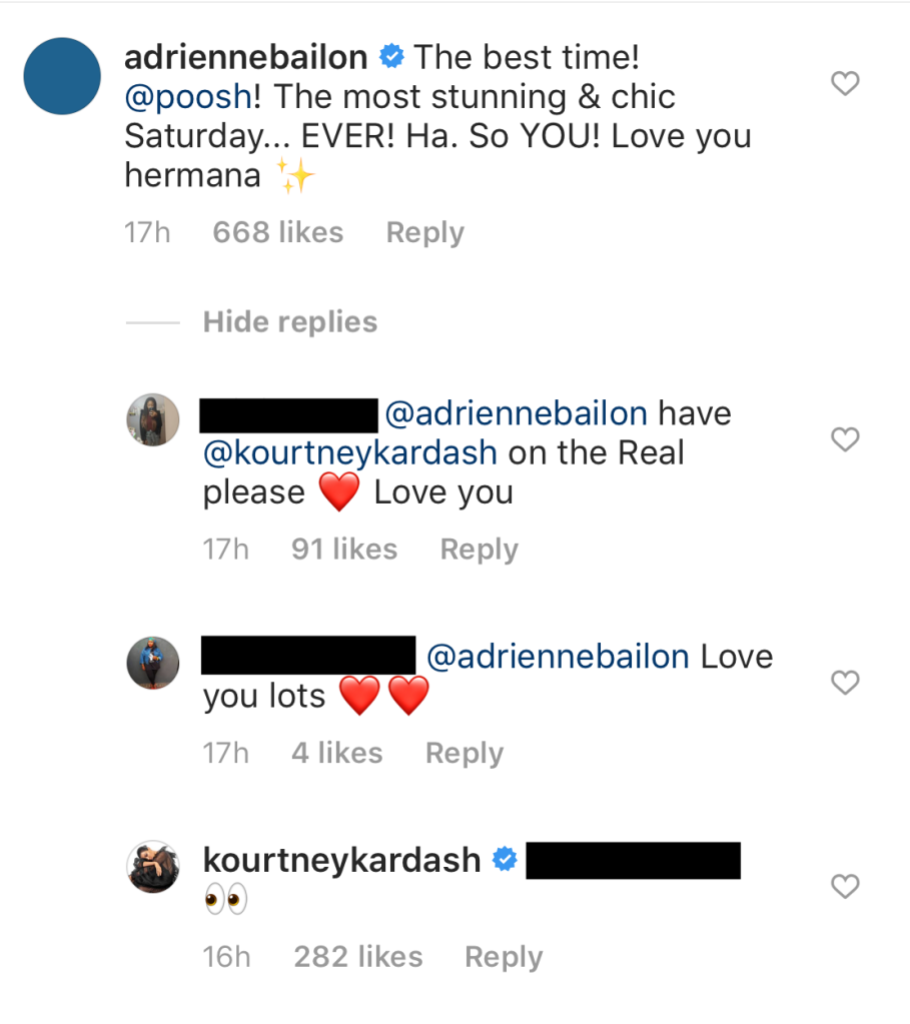Adrienne Bailon comment on Kourtney Kardashian instagram After Someone Says She Should be on The Real