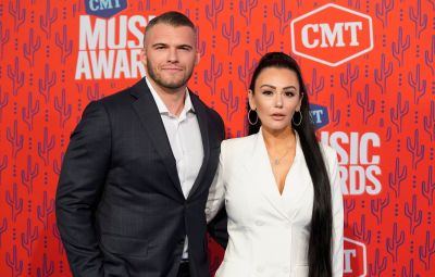 JWoww Wearing a White Outfit With Boyfriend Zack Clayton Carpinello on the Carpet