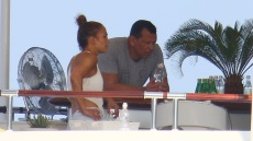 Jennifer Lopez works out while onboard a luxury yacht in the South of France