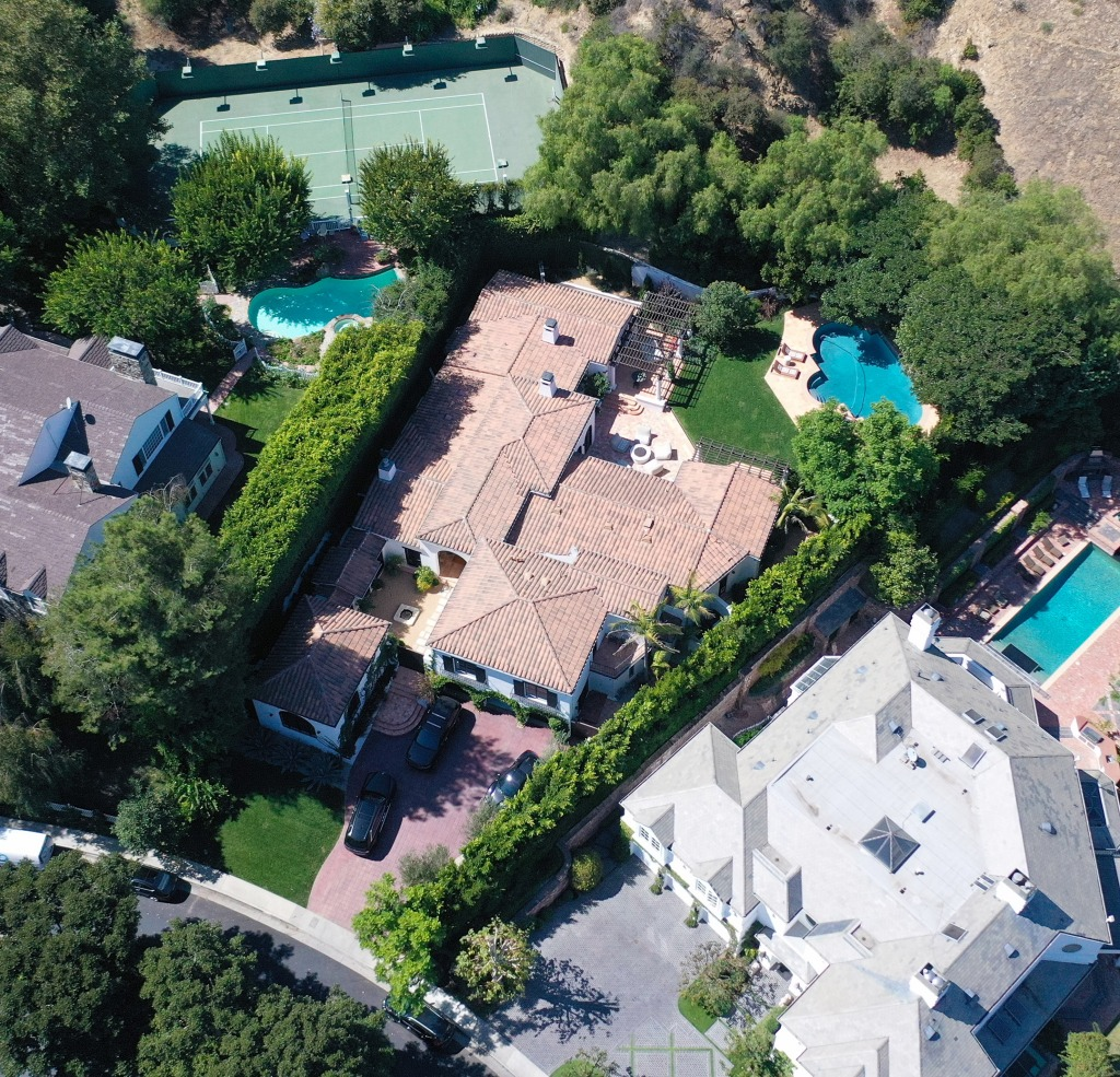 Aerial photos of Kendall Jenners Celebrity's $9M Beverly Hills Mansion in the Mulholland Estate Community of Beverly Hills.