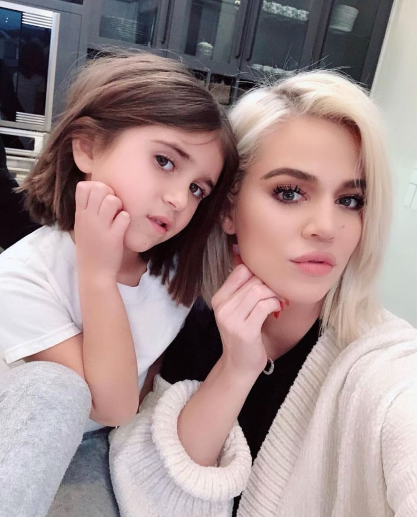 Khloe Kardashian and Penelope Disick showing Off Their Hair