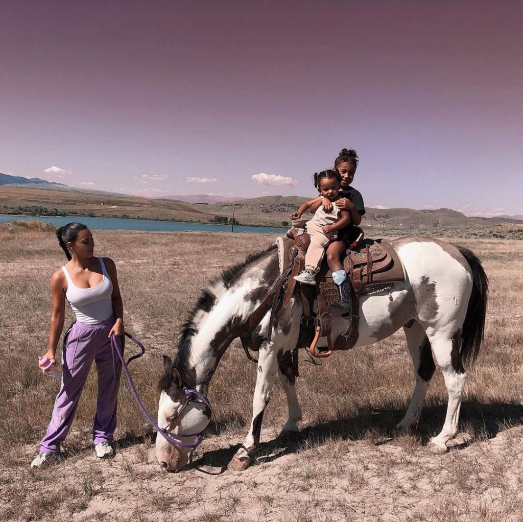 Kim Kardashian, North West and Chicago West horseback-riding in Wyoming