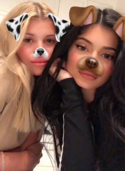Sofia Richie and Kylie Jenner using a dog filter on Instagram