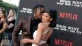 Travis Scott kissing Kylie Jenner on the cheek