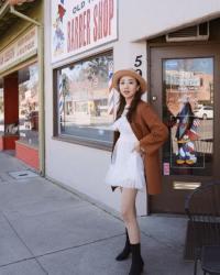 Lancy Zhang Wears White dress