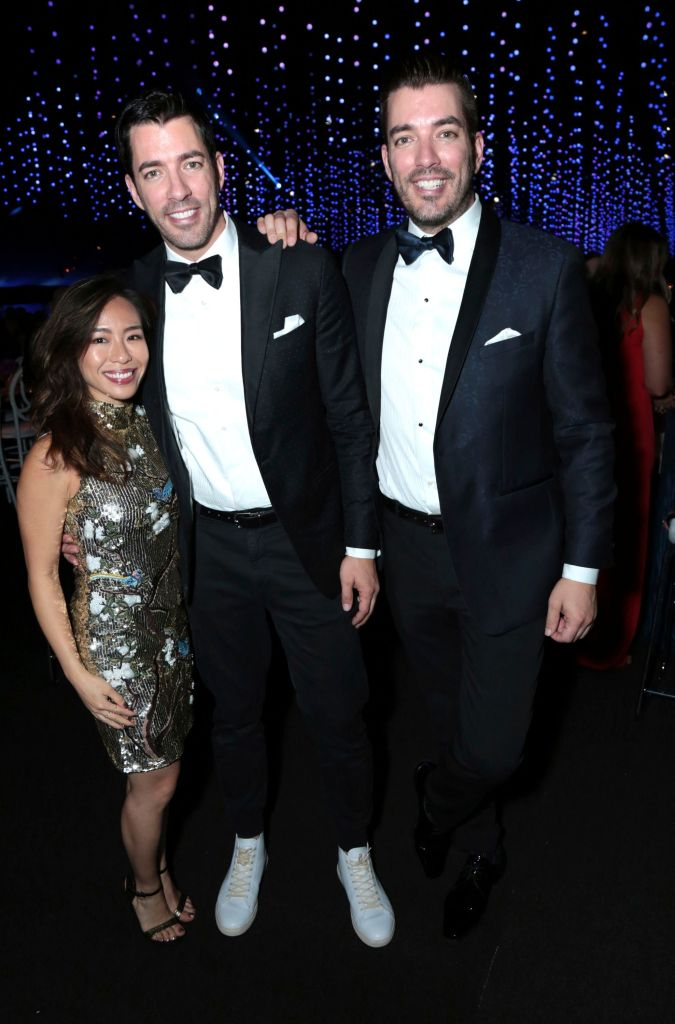 Linda Phan and Drew and Jonathan Scott Posing at the Emmy Awards