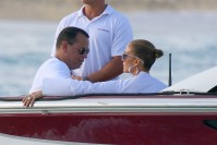 Jennifer Lopez and Alex Rodriguez arriving at Nikki Beach in the south of France for Magic Johnson 60th birthday