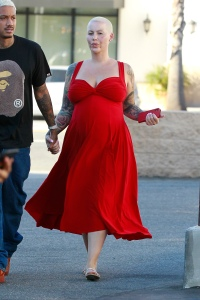 Pregnant Amber Rose Wears Red Dress