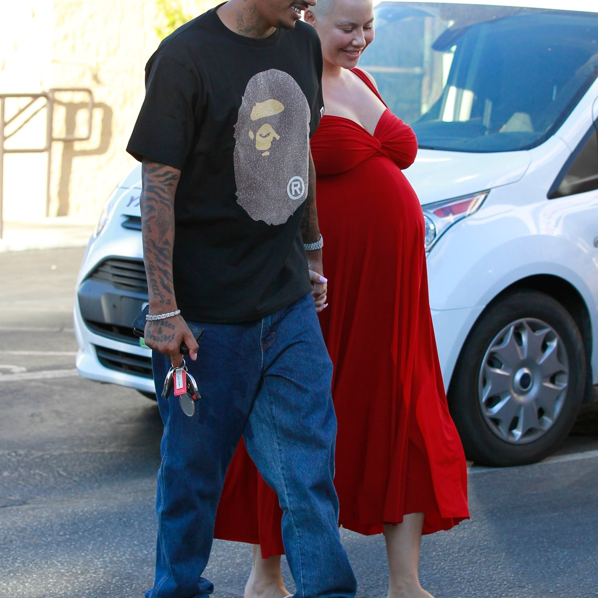 Ravishing in Red! Amber Rose Steps Out With Boyfriend Alexander Edwards While Due Date Approaches