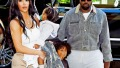 Kim Kardashian Kanye West Chicago West Saint West North West in NYC for Jesus Is King Show in Queens