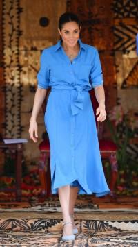Meghan Markle wearing a blue dress in 2018