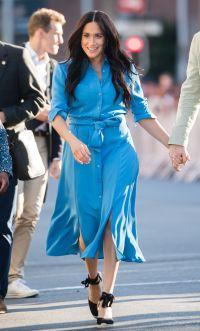 Meghan Markle wearing a blue dress in 2019