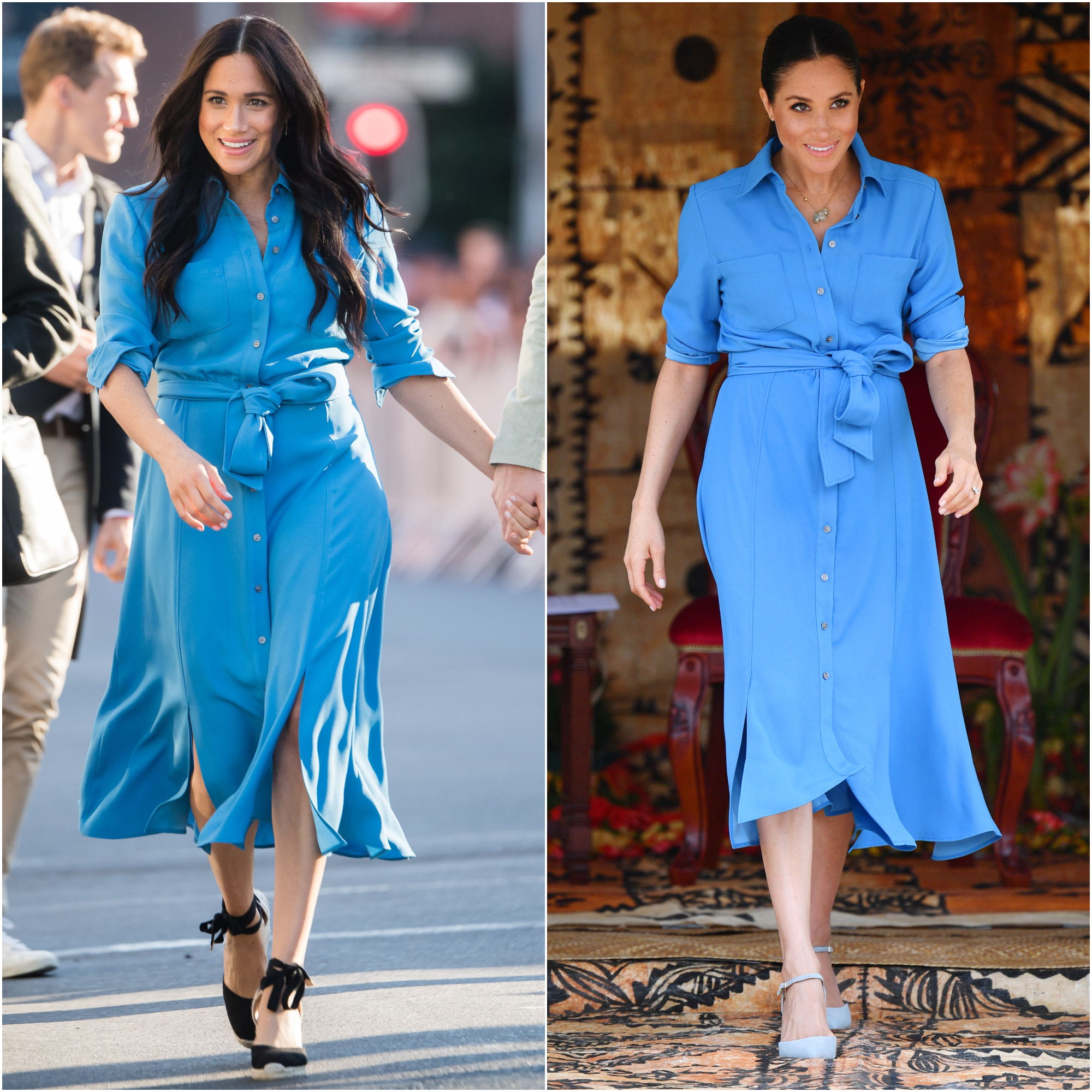 meghan markle spotted in same blue dress she wore during pregnancy blue dress she wore during pregnancy